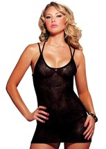 Women's Seven 'Til Midnight 2 Pcs Lingerie Lace Chemise Set Black 9671P One Size