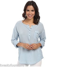 NWT $108 Splendid Rayon Voile Henley Shirt w/ Roll Up Sleeves in Mist Bl... - $28.71