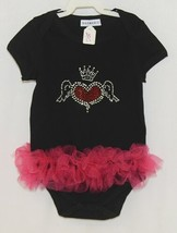 Doomagic Black One Piece Pink Tutu Red Heart Wings Crown Size 2 to 3 Years image 1