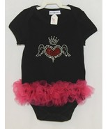 Doomagic Black One Piece Pink Tutu Red Heart Wings Crown Size 2 to 3 Years - $20.00