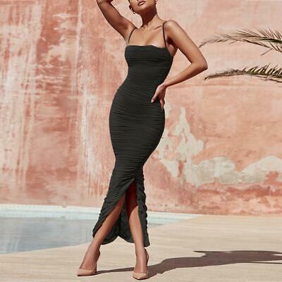 Ship From USA !!!   Women Maxi Mesh Dress  2020 Bodycon Mesh Dress Sexy V Neck P