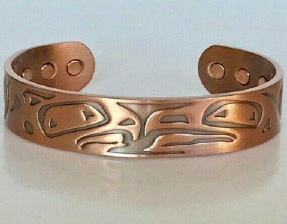 Pure Copper Magnetic Bracelet Arthritis Pain Therapy Cuff Native American Eagle - $13.95
