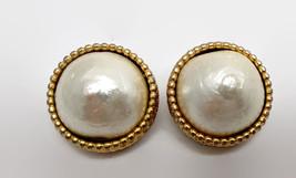 Vintage Ellen Designs Faux Pearl Gold Tone Clip Earrings - $21.78