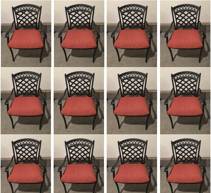 Outdoor dining chair set of 12 aluminum patio furniture restaurant seating