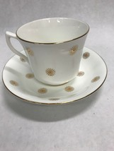 1960 Tea coffee cup Porcelain England  English Castle Staffordshire starburst - $41.57