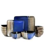Elama Uptown Loft 16 Piece Double Bowl Stoneware Dinnerware Set with Ser... - $73.21
