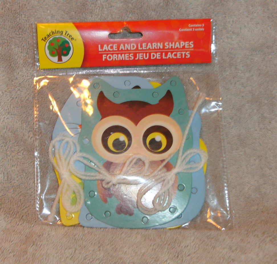 TEACHING TREE LACE & LEARN SHAPES ANIMALS NEW IN PACKAGE