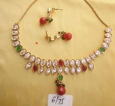 Kundan Necklace Set Gold Red Stone Indian Long Mala Fashion Designer Jewelry - $24.59