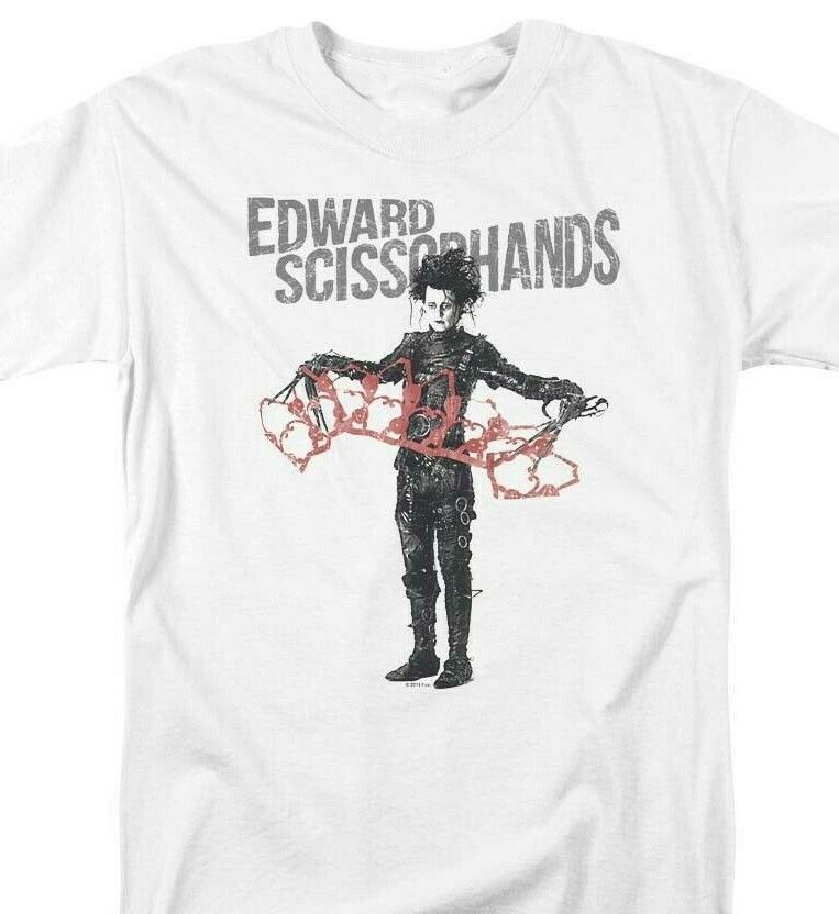Edward Scissorhands T-shirt retro 90's movie 100% cotton graphic white tee