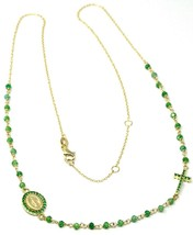 18K YELLOW GOLD ROSARY NECKLACE, FACETED EMERALD ROOT, CROSS & MIRACULOUS MEDAL image 1