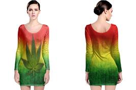 Rasta Canabis Women's Long Sleeve Bodycon Dress - $24.90+