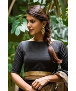 Black raw silk boat neck blouse | Ready made Indian Saree Blouse - $35.99