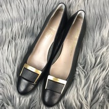 Ferragamo Black Leather Pumps AAA Size 9 Buckle Gold Women's Pebbled Salvatore TnxRdqT