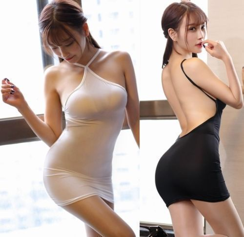 New Sexy Women Ice Silk Transparent Stripe Halter Backless MINI Dress See - $14.55