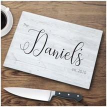Farmhouse Last Name Personalized Glass Cutting Board Kitchen Wedding Gif... - £19.67 GBP
