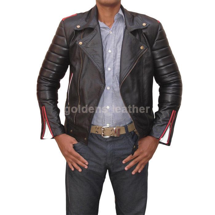 New Men's Stylish Lambskin Genuine Leather Motorcycle Biker Slim Fit Jacket GN33