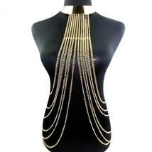 Gold Body Necklace Women Maxi Necklaces&Pendants Alloy Long Necklace Cho... - $25.42