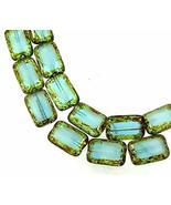 12 Czech Glass Rectangle Beads Capri Blue/White - Picasso - $15.83