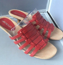 "Aerosoles ""Round the Mend"" Leather Huarache Red Slide Sandal Side 10M - $29.95"