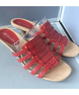 """Aerosoles """"Round the Mend"""" Leather Huarache Red Slide Sandal Side 10M - $29.95"""