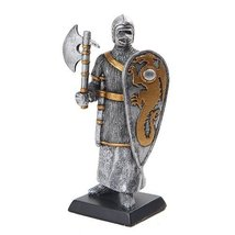 5 Inch Armored Medieval Knight with Dragon Shield Statue Figurine - $15.44