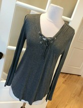 Long Sleeve Top Rue21 Solid Gray Shirt New Womens Junior Small - $12.86