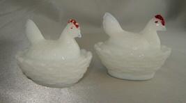 Lot (2) Vintage White Milk Glass Hen on Nest Salt Dip Cellars (1 Westmor... - $19.50