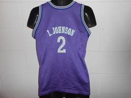 VTG 90s Charlotte Hornets Larry Johnson Purple Champion Jersey Youth XL ... - $21.99