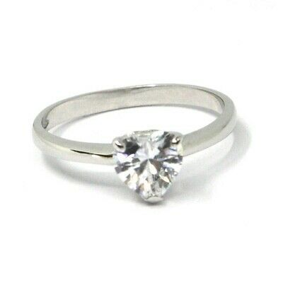 SOLID 18K WHITE GOLD RING, SOLITAIRE WITH HEART CUBIC ZIRCONIA 1.30 CARATS