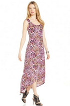 NY Collection Women's Hi-Low Animal Print Maxi Black Multi Dress XLarge - $16.99