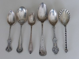 ANTIQUE SET OF 6 STERLING SILVER SPOONS 150 GRAMS - $115.00
