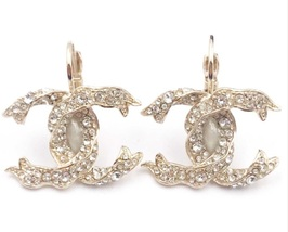 SALE* AUTHENTIC Chanel Gold CC Ribbon Crystal Large Piercing Earrings