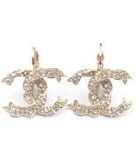 SALE* AUTHENTIC Chanel Gold CC Ribbon Crystal Large Piercing Earrings - $429.99
