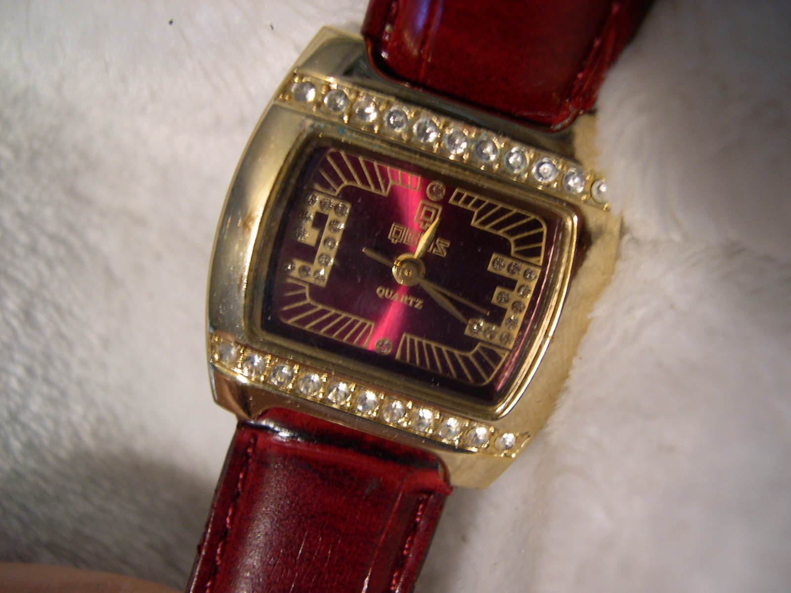 "Primary image for L04, QBOS Ladies Dress Watch, Burgandy Face,  8.5"" Burgandy Band wb"
