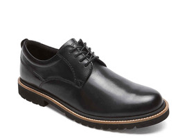 Rockport Marshall Plain Toe Men's Black Leather Oxford Wide(W), CG8260 - $78.99