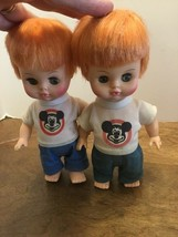 "Pair Of Horsman 1971 Mickey Mouse Club Red Headed Dolls 8.5"" Sleepy Eyes - $20.00"