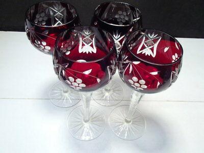 """4 Nachtmann Bohemian / Czech Colored Tall Wine Stems ~~ 8 1/4"""" ~"""