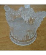 Lewis Crystal Angel Frosted Candle Holder 12.5 inch Round 4.5 Inch Tall ... - $29.69