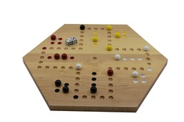 Solid Maple Double Sided Aggravation Marbles Board Game Hand Painted 16 ... - $87.03