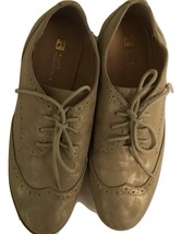White Mountain Praise Gold Metalic Lace-up Ladies Oxford Wingtip Shoes S... - $32.95