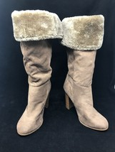 """Wild Diva Lounge Women 16"""" High Boot US 8 Leather Faux Fur Block Mid - $29.65"""