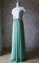 Boho Wedding Bridesmaid Dress Chiffon Maxi Skirt Short Sleeve Crop Lace Top  image 2