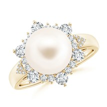 June Birthstone 10mm Freshwater Cultured Pearl Diamond Halo Ring Silver/... - $1,128.08+