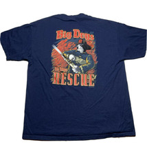 Vintage 90s Big Dogs To The Rescue Graphic Firefighter T Shirt Size XL Blue - £17.94 GBP