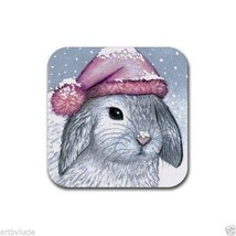 Rubber Coasters set of 4, from art painting Hare 14 rabbit by L.Dumas - $10.99