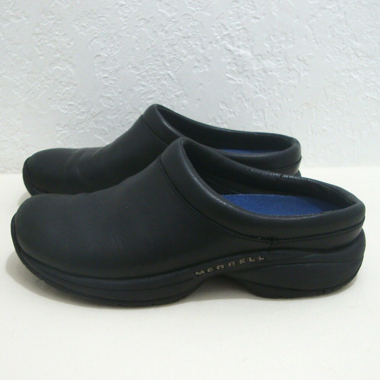 MERRELL Clogs Black Leather Air Cushion Performance Uniform Slide Shoe Women 7.5