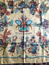 Vintage HERMES Carre large silk scarf with cream yellow, blue and brown print. B - $342.00
