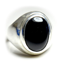 Pretty Black Onyx Sterling Silver Ring Jewelry Bold 6 Carat Astrological... - $35.95