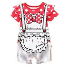 Bowknot Baby Bodysuit Infant Onesies Toddler One-piece Romper Pink&White Spots