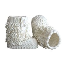 Baby Handmade Crochet Shoes Knit Winter Sock Boot Keepsake Gift 11CM White